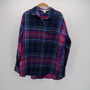 Old Navy Plaid Blue Pink Button Front Shirt Size L